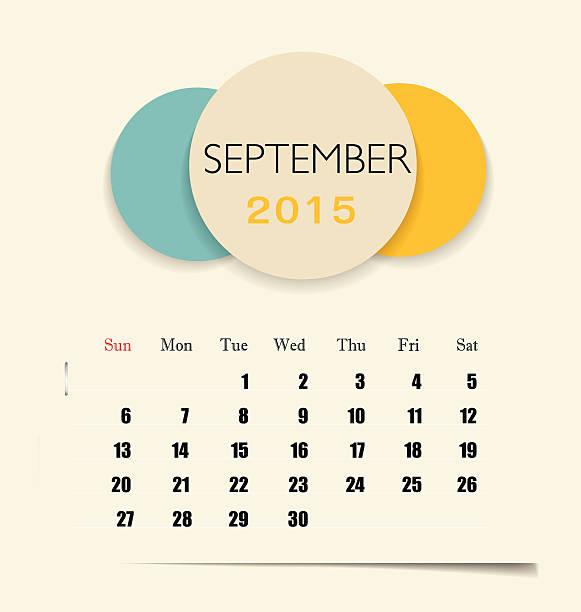 illustrations, cliparts, dessins animés et icônes de calendrier 2015, modèle de calendrier mensuel pour septembre. - infographie processus