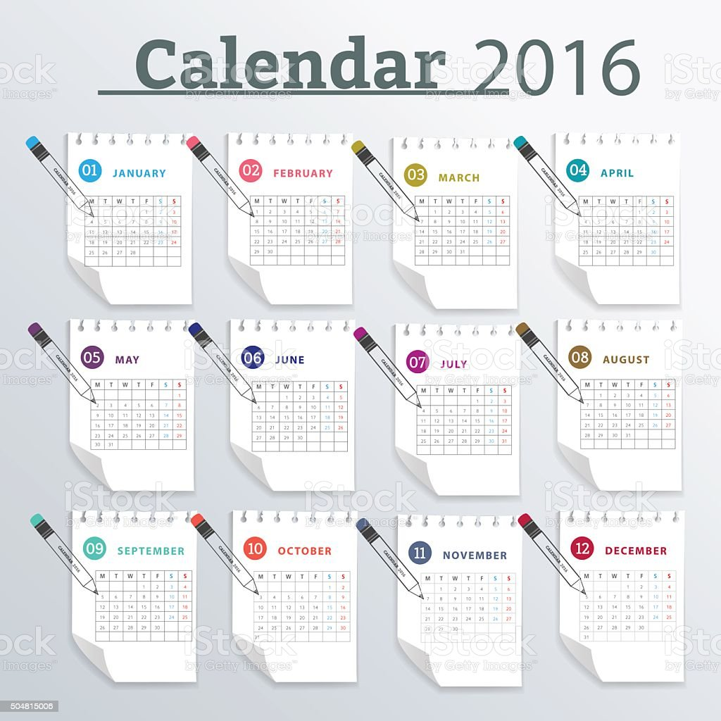 calendar monthly planner 2016 stock vector art more images of 2016