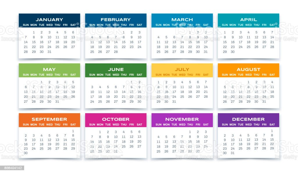 Calendar Months 2018 vector art illustration