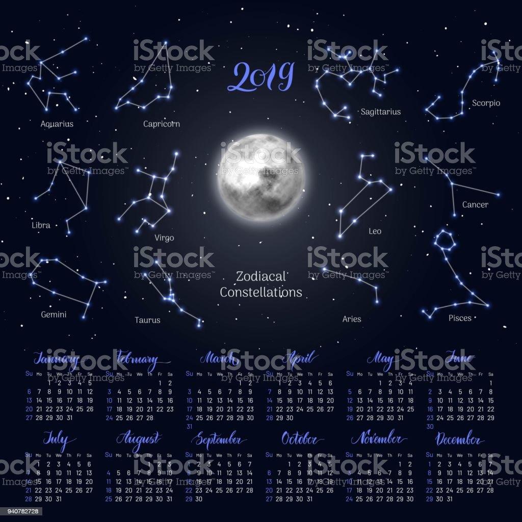 Calendar Organization Zodiac : Calendar moon zodiac constellations night sky