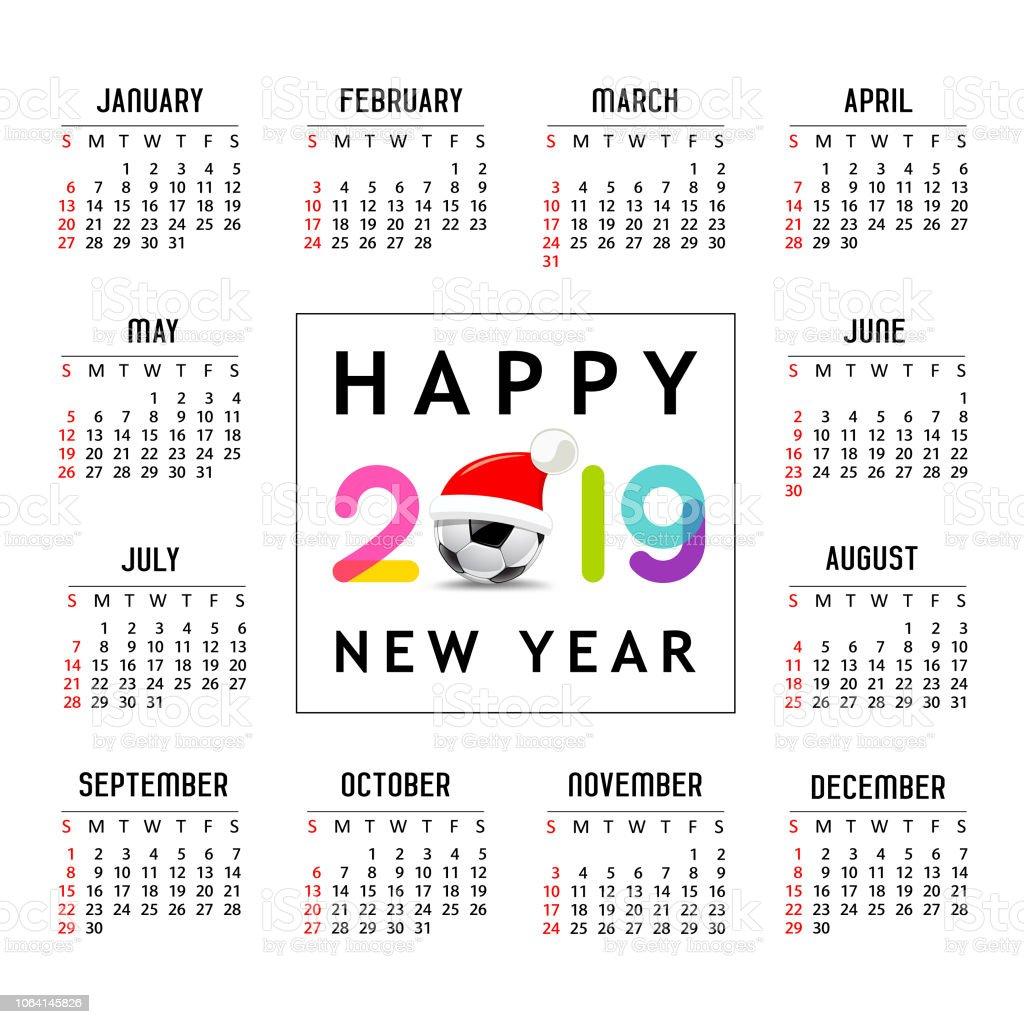 2019 Soccer Calendar Calendar New Year 2019 Santa Hat On Soccer Ball Template Design