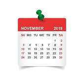Calendar november 2019 year in paper sticker with pin. Calendar planner design template. Agenda november monthly reminder. Business vector illustration.