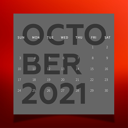 2021 Calendar. October month wall calendar for 2021 year. Planner diary in a minimalist style. Week Starts on Sunday. Monthly calendar ready for print. In dark colors.