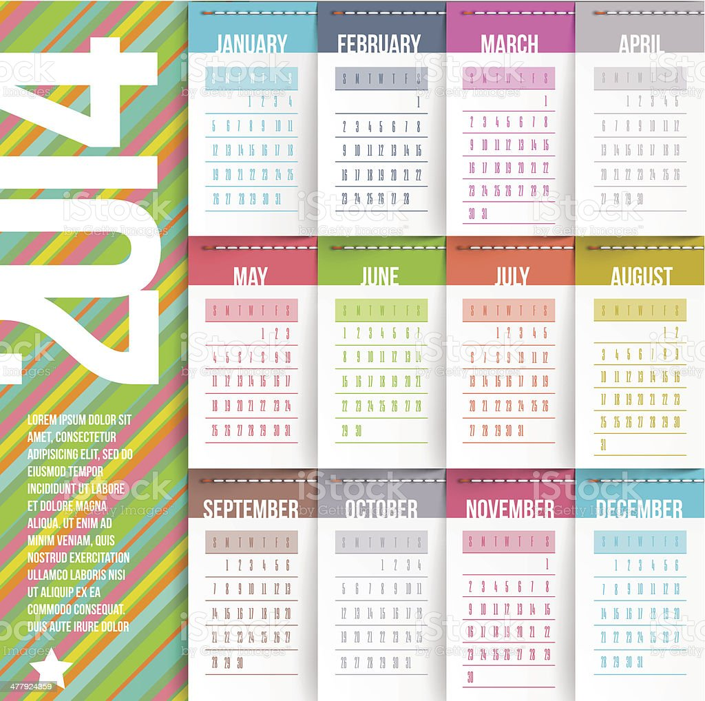 Calendar of 2014 with stitched labels royalty-free stock vector art