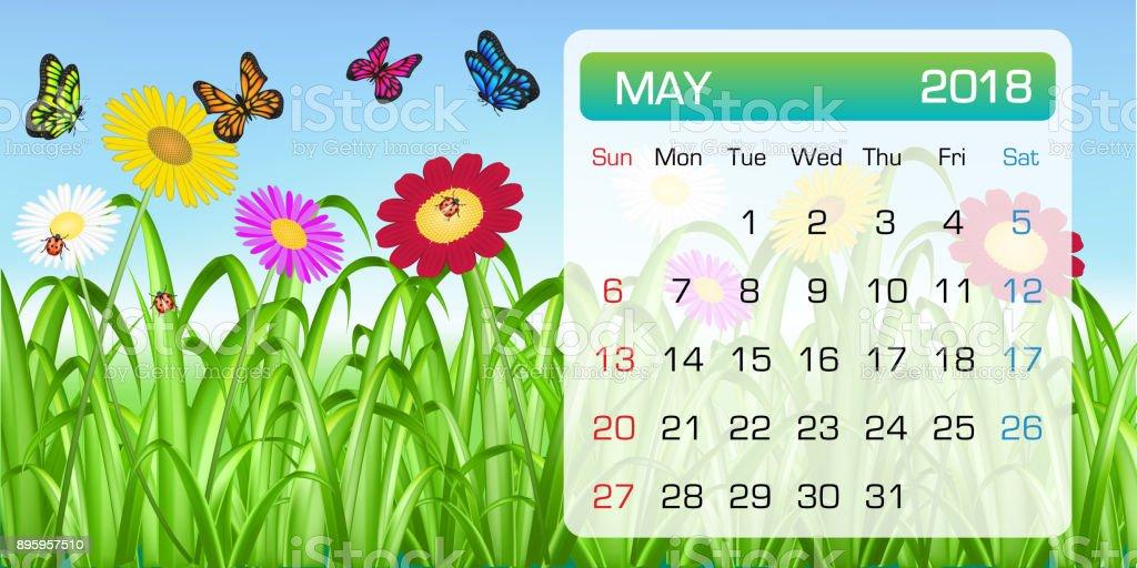 calendario de mayo 2018 mes tema flor de mariposa - ilustración de arte vectorial