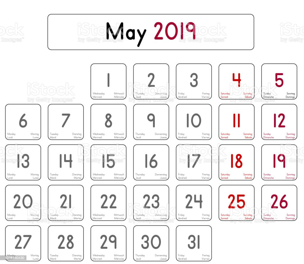 Calendar Of The Month Of May 2019 Stock Illustration
