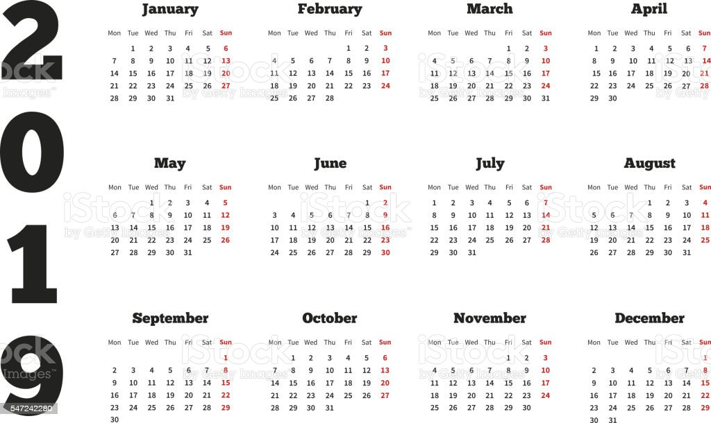 Year Calendar Starting : Calendar on year with week starting from monday a