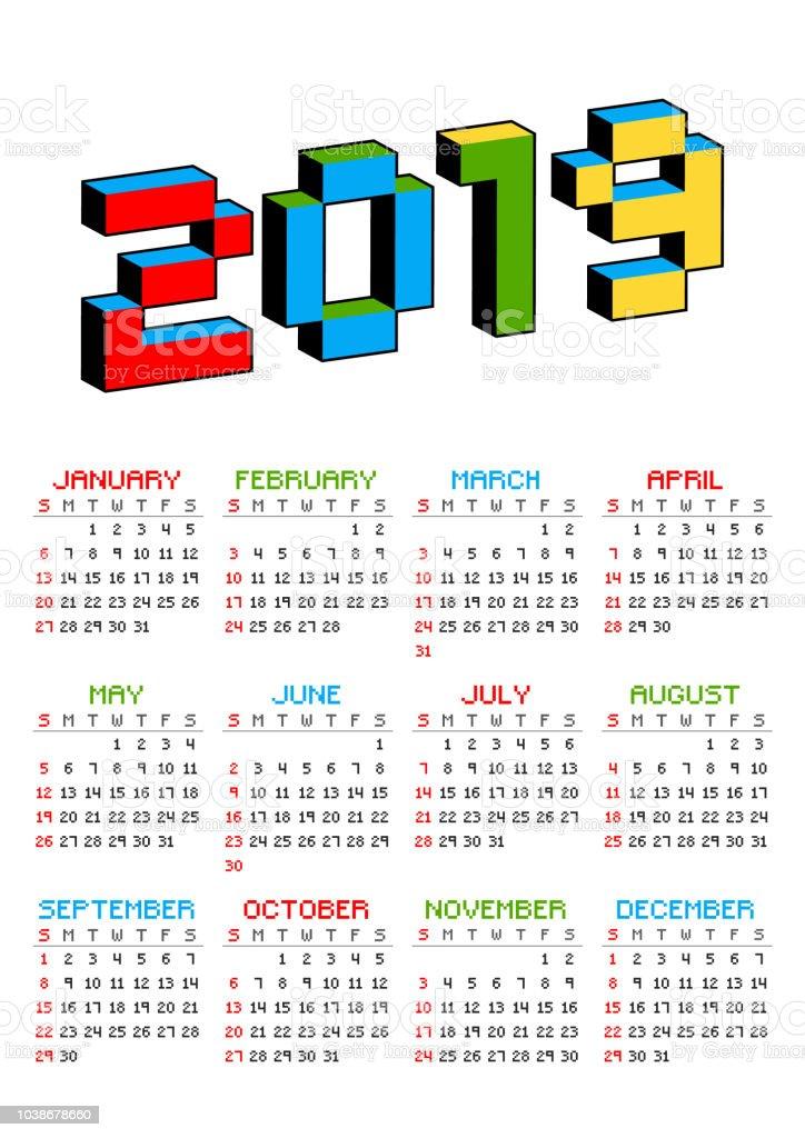 昔の 8 ビット ビデオ ゲームのスタイルの白い背景の上 2019年カレンダーです。週は日曜日から開始します。活気に満ちたカラフルな 3 D のピクセルの文字。レトロなアーケード、コンピュー� ベクターアートイラスト