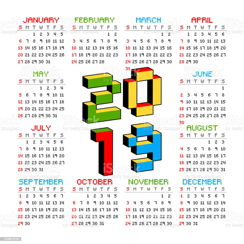 Video Game Calendar 2019 2019 Calendar On A White Background In Style Of Old 8bit Video