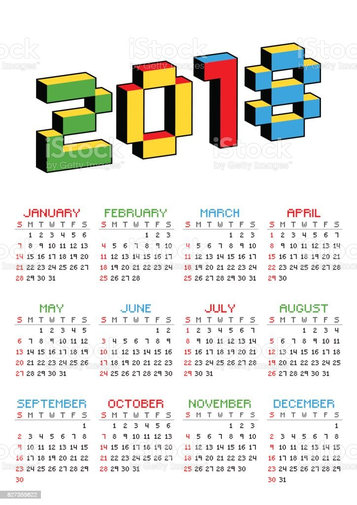 2018 Calendar On A White Background In Style Of Old 8bit Video