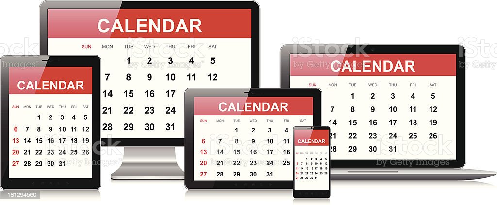 Calendar on computer equipment royalty-free stock vector art
