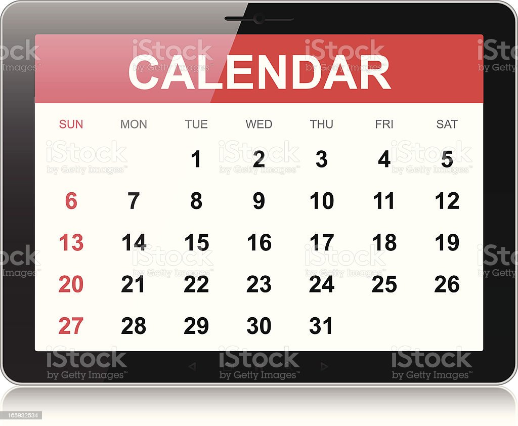Calendario Per Pc.Calendario Su Tablet Pc Immagini Vettoriali Stock E Altre