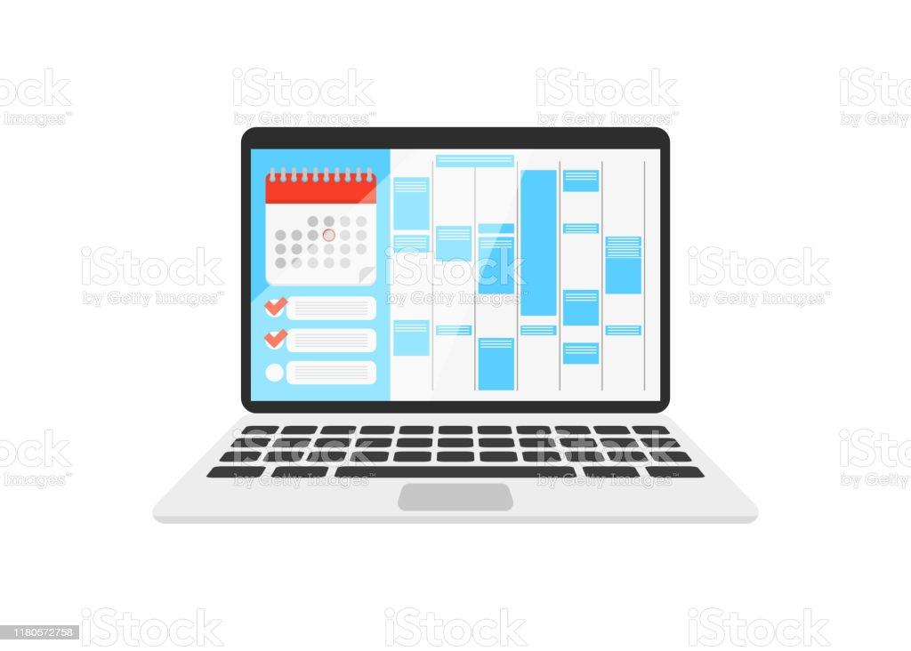 календарь на ноутбуке с чек-листом - Векторная графика Баннер - знак роялти-фри