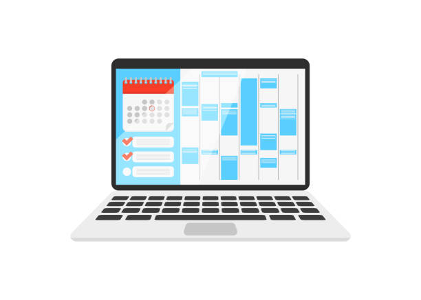 stockillustraties, clipart, cartoons en iconen met kalender op de laptop met checklist - agenda