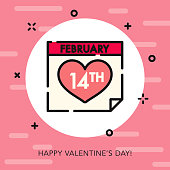 Calendar Open Outline Valentine's Day Icon