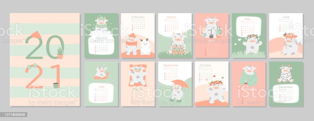 Calendar Or Planner 2021 Kawaii Cartoon Ox Bull Or Cow Symbol Of