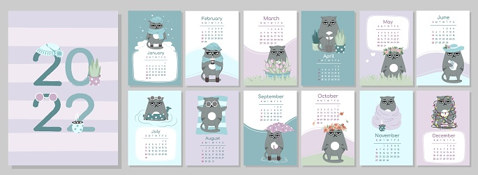 A4 calendar or planner 2022 kawaii cartoon grumpy sad angry cat, cute character. Cover and 12 monthly pages. Week starts on Monday, vector illustration