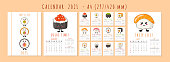 Kawaii sushi calendar or planner A4 format for 2021, sushi, rolls, sashimi - cute cartoon Japanese food characters. Cover and 12 monthly pages, week starts on Sunday, vector template. Vector template