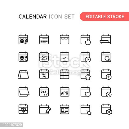 Set of calendar outline vector icons. Easy editable stoke.