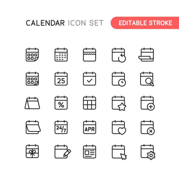 illustrazioni stock, clip art, cartoni animati e icone di tendenza di icone struttura calendario tratto modificabile - evento