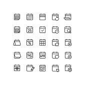Set of calendar outline vector icons.