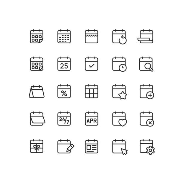 illustrazioni stock, clip art, cartoni animati e icone di tendenza di calendar outline icons - data
