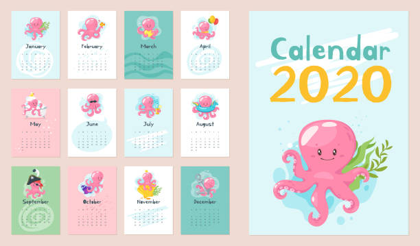 2020 page calendrier. - Illustration vectorielle