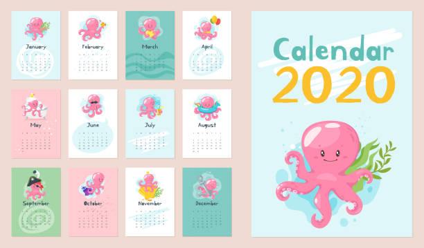 ilustrações, clipart, desenhos animados e ícones de 2020 página do calendário. - calendário de vida selvagem