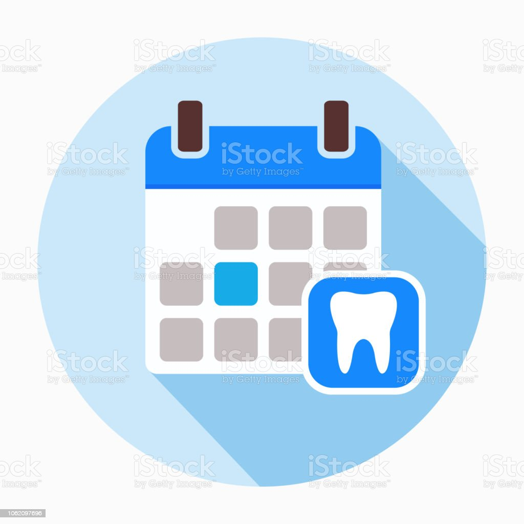 Calendar page with human tooth icon vector. vector art illustration