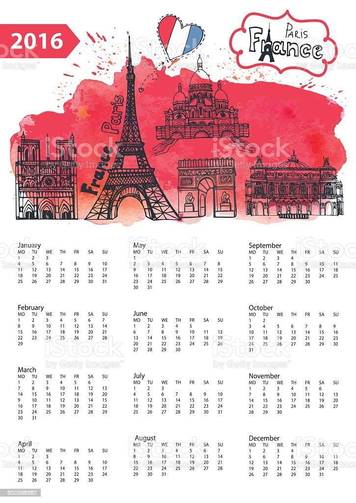 Panorama Calendario.Ilustracion De Calendario Paris Atracciones Turisticas Panorama