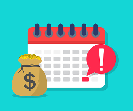 Calendar payment. Money with date on schedule. Plan for salary. Reminder of deposit period. Tax day icon. concept of pay in time. Payday in term. Dollar loan for economic. Deadline payroll. Vector