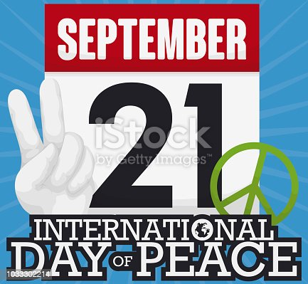 Calendar Peace Gesture And Symbol For International Day Of Peace