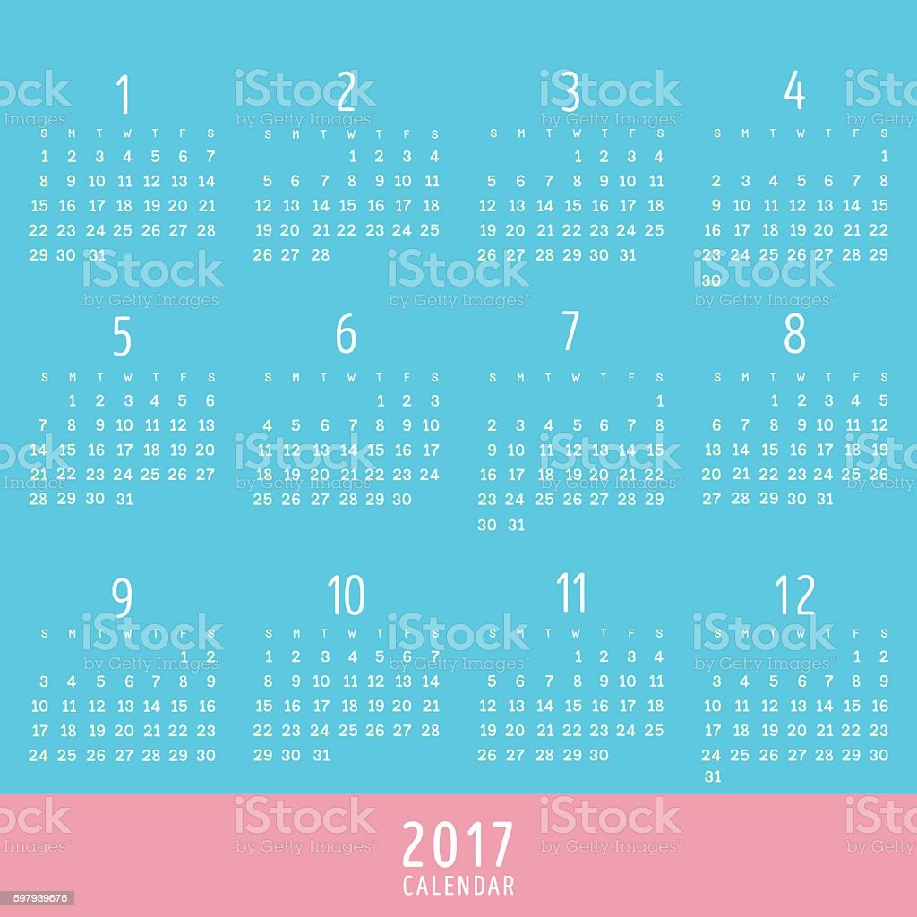 2017 Calendar Pink Blue Colors Stock Vector Art & More Images of ...