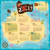 2017 twelve month kids calendar with pirate map concept design.Illustration vector.