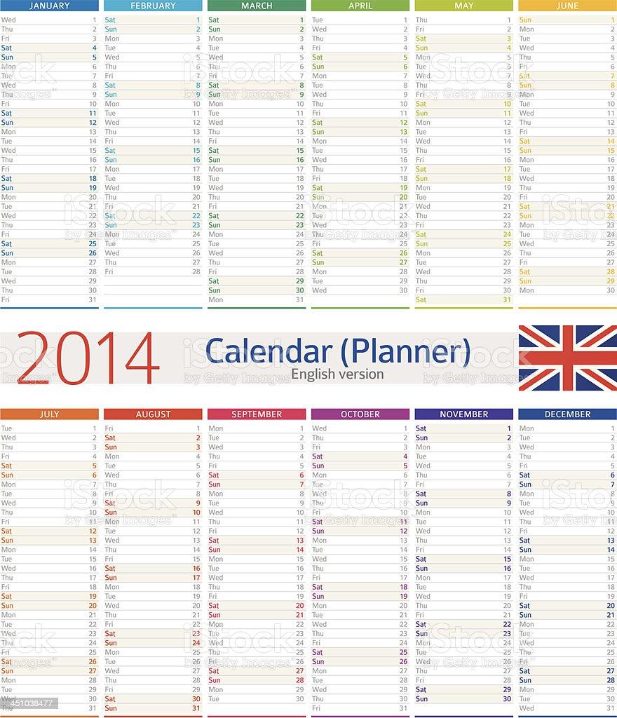 Calendarioplanificador De 2014 - Arte vectorial de stock y más ...