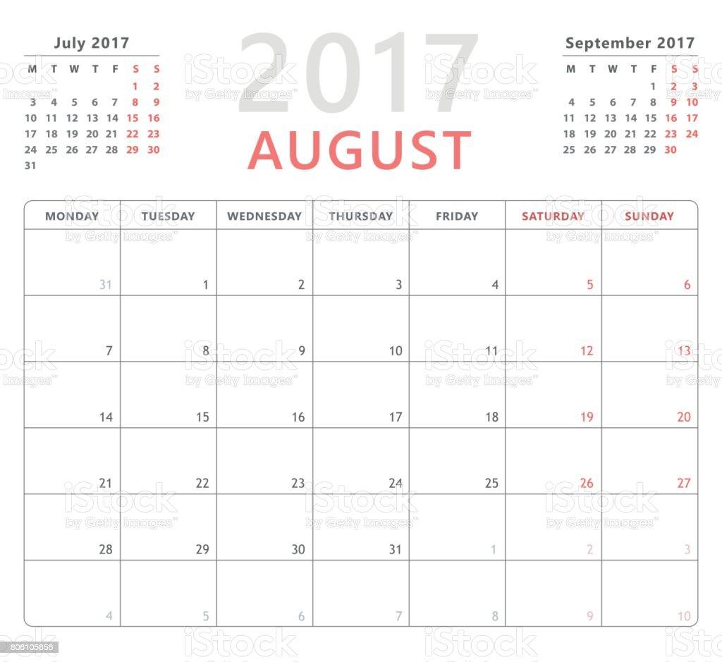 calendar planner 2017 august week starts monday vector design template royalty free calendar