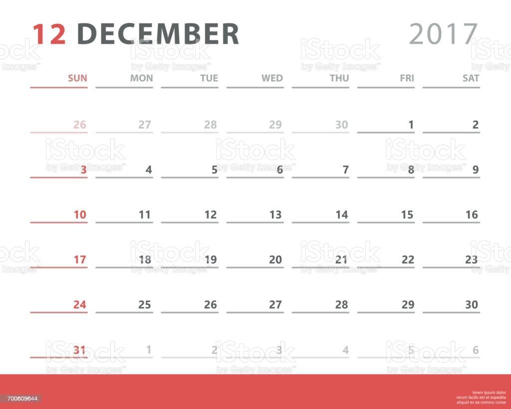 カレンダー プランナー 2017年 12 月週の開始日ベクター デザイン