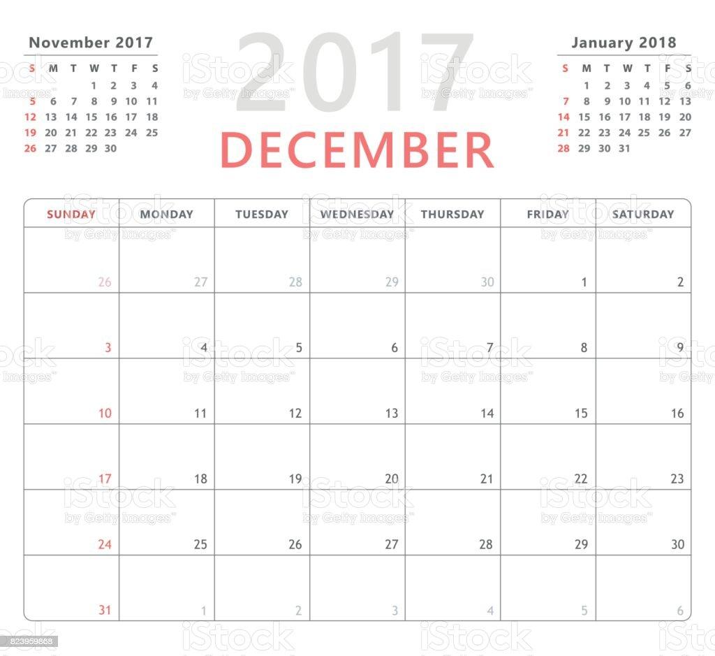 Ilustração De Planejador De Calendário Dezembro De 2017 Semana