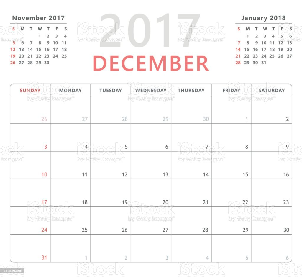 Calendar planner 2017 december, week starts sunday, vector design template vector art illustration