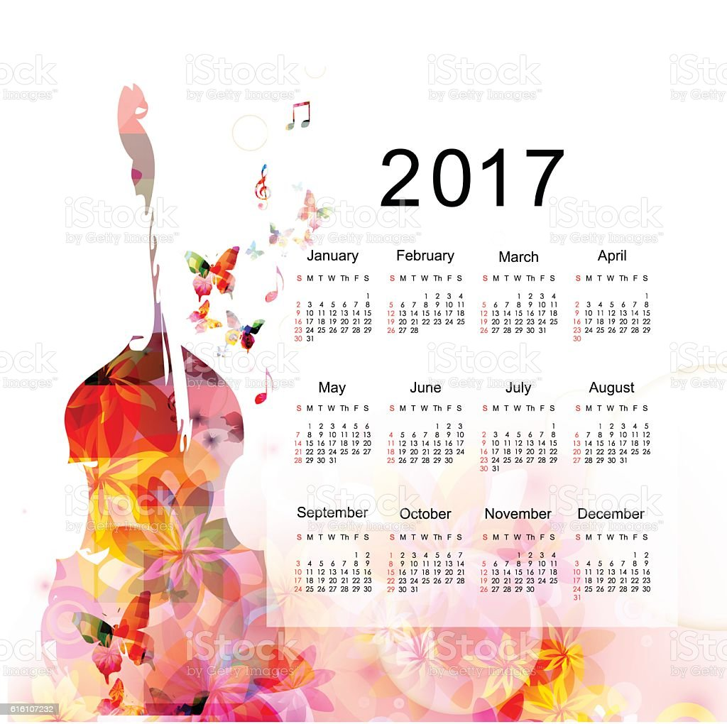 Calendar planner 2017 design template with colorful violoncello vector art illustration