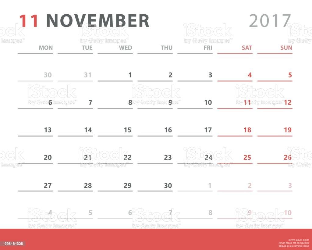 Kalender Planer 2017 November Woche Beginnt Montag ...