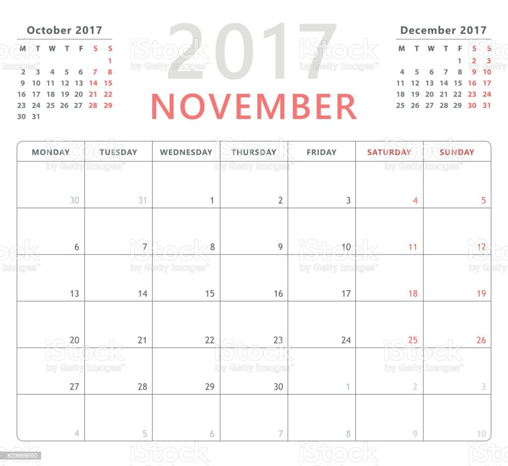 calendar planner 2017 november week starts monday vector. Black Bedroom Furniture Sets. Home Design Ideas