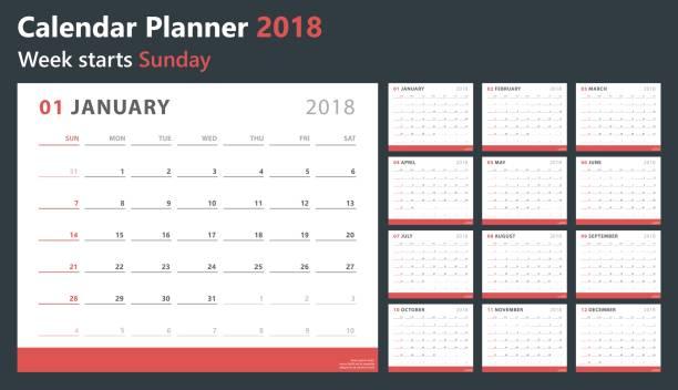 kalender planer 2018, beginnt woche sonntag, vektor-design-vorlage - monatskalender stock-grafiken, -clipart, -cartoons und -symbole
