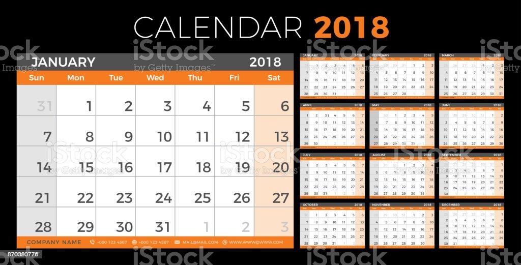 Calendar Planner 2018 Year Simple Minimal Wall Type Calendar