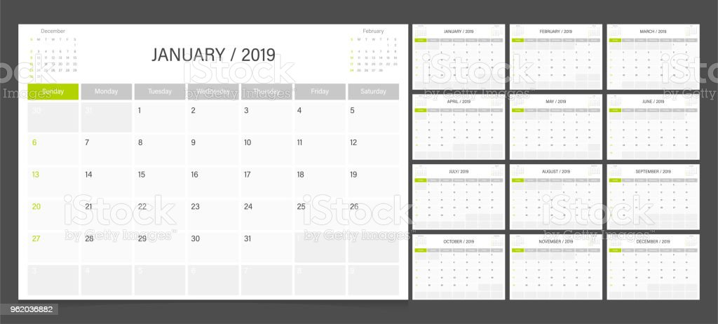 Calendar planner 2019 design template week start on Sunday. векторная иллюстрация