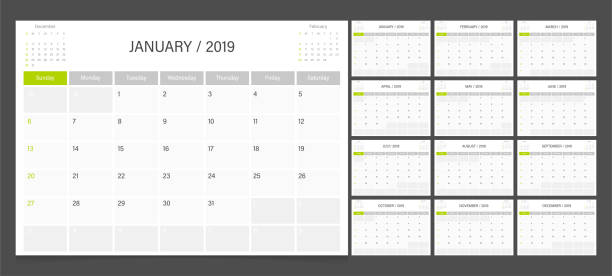 stockillustraties, clipart, cartoons en iconen met kalender planner 2019 ontwerp sjabloon week start op zondag. - juni