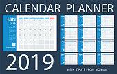 Calendar Planner 2019 - Vector Template. Days start from Monday