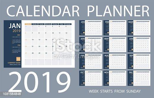 Calendar Planner 2019 - Vector Template. Days start from Sunday