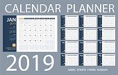 istock Calendar Planner 2019 - Vector Template. Days start from Sunday 1031584848
