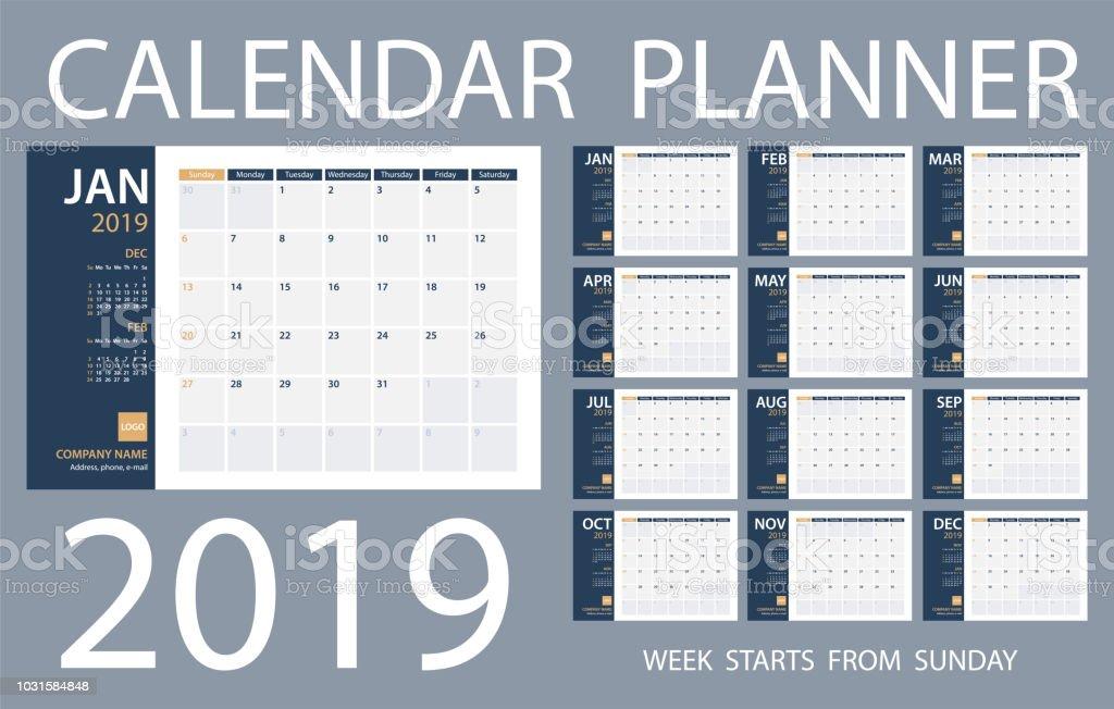 Calendar Planner 2019 - Vector Template. Days start from Sunday vector art illustration